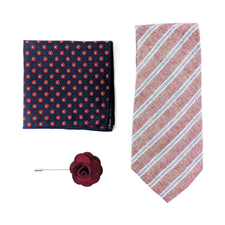 Men's Red and Blue Accessory Set | Red and Blue Striped Necktie, Pocket Square & Lapel Flower | Brock Alexander