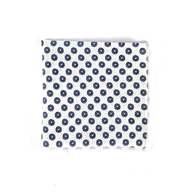 Brock Alexander | Men's Cotton Pocket Square | White and Navy Spotted Pocket Square | Classic Handkerchief