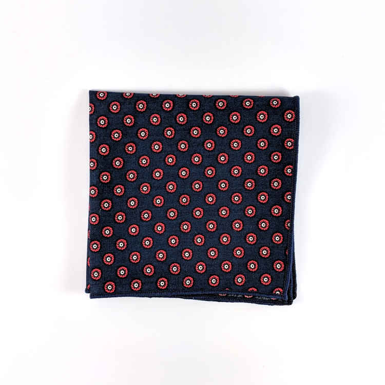 Brock Alexander | Men's Cotton Pocket Square | Red and Navy Spotted Pocket Square | Classic Handkerchief