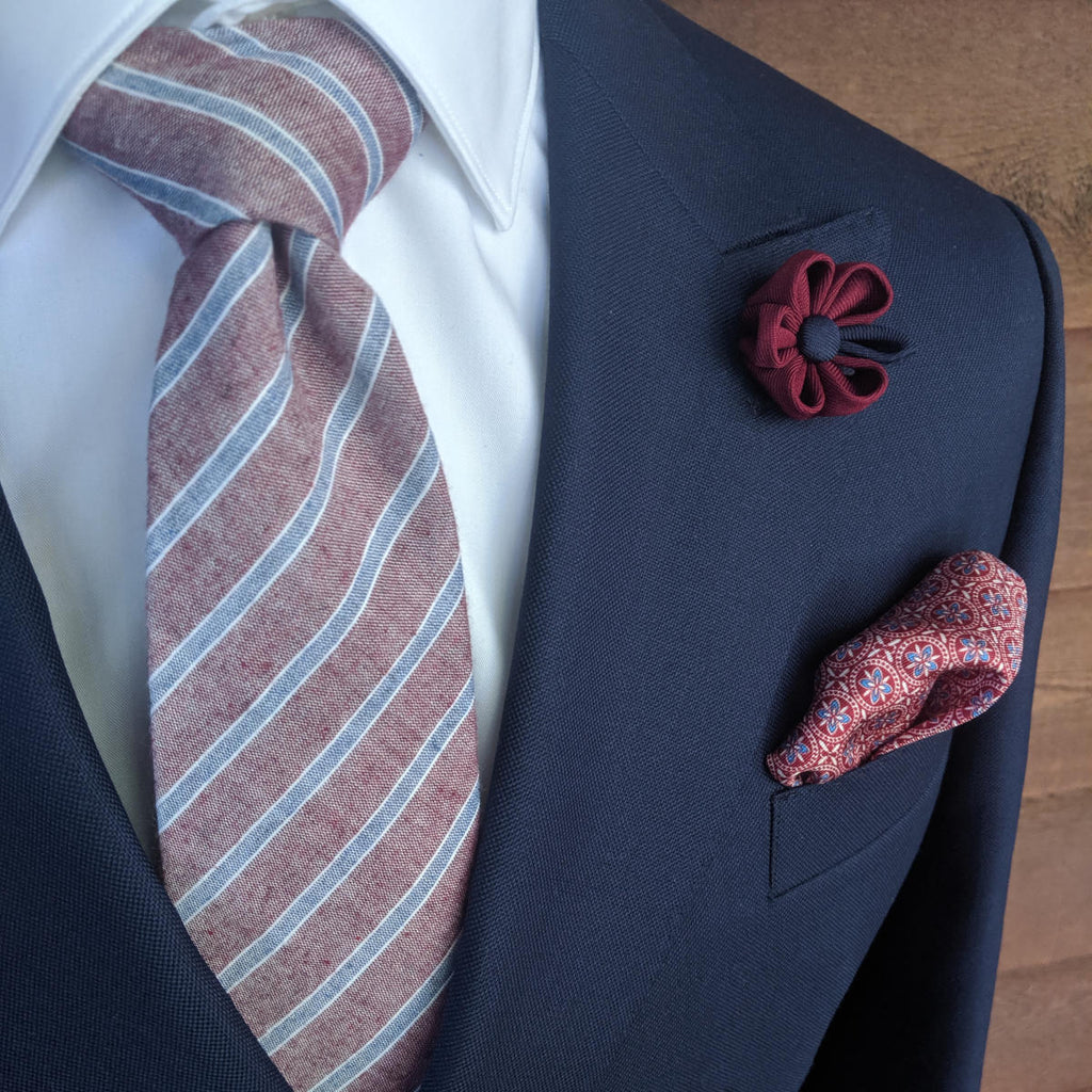 Brosnan Cotton Necktie  - Blue on Maroon