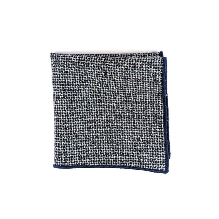 Brock Alexander | Men's Cotton Pocket Square | Navy and White Textured Pocket Square | Classic Handkerchief