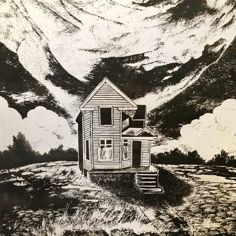 Artist Noah Prinsen opens a new solo-show at Starfangled Press with this black and white woodcut of a rural farm house with dramatic shadows and surrounded by a turbulent sky.