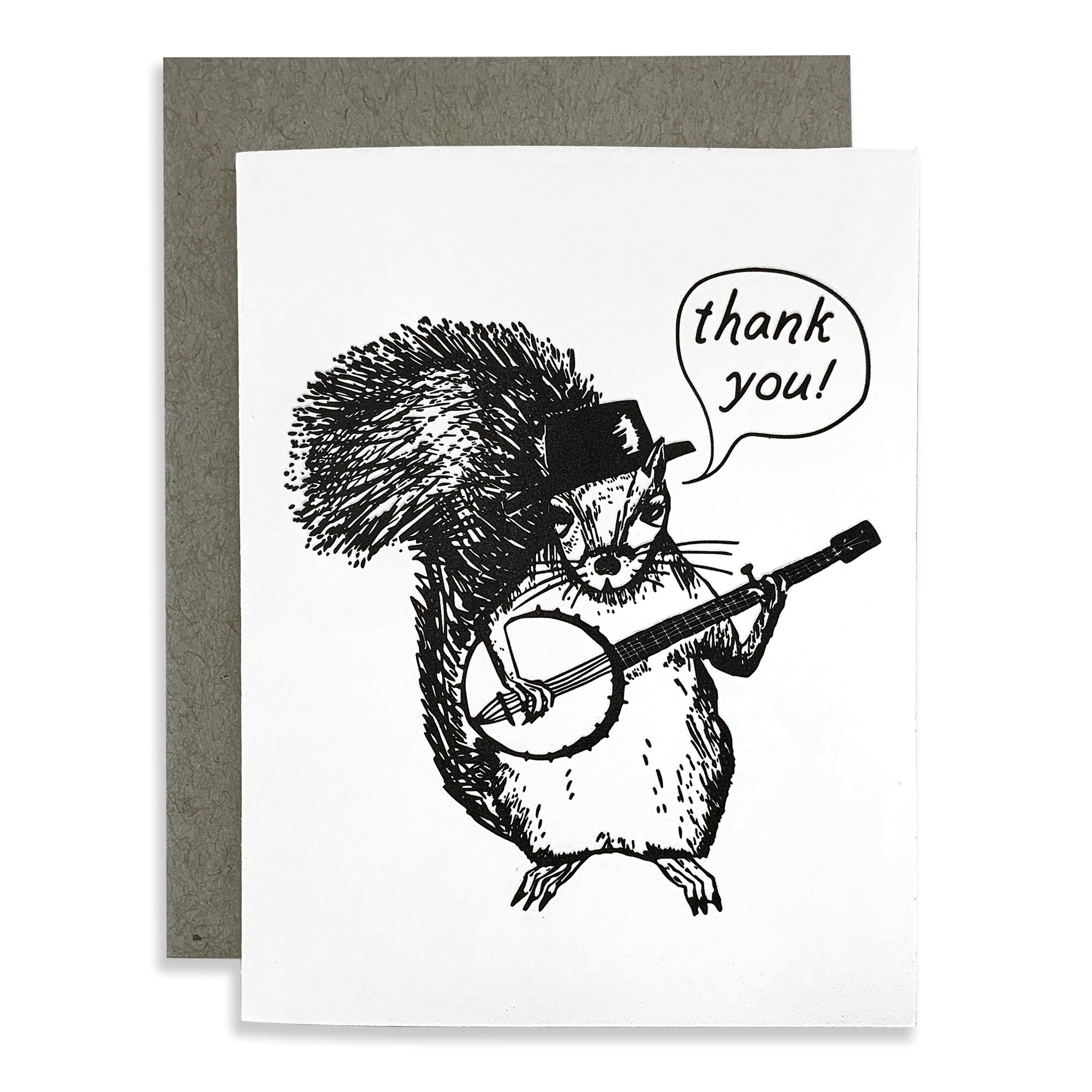 Thank You Squirrel With Banjo Card
