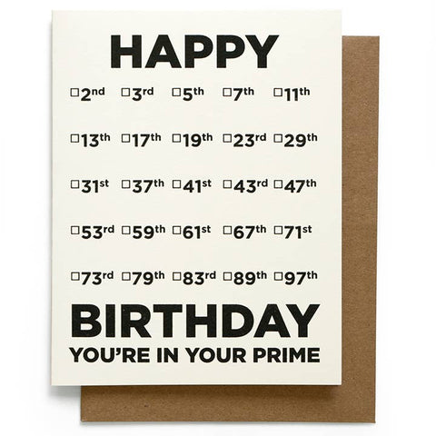 Prime Number Birthday Card