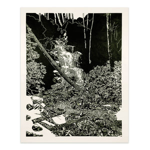Log Hollow Falls Woodcut Print