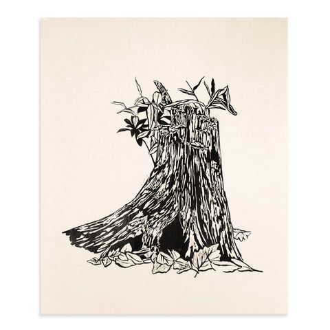 Log Hollow Woodcut Print