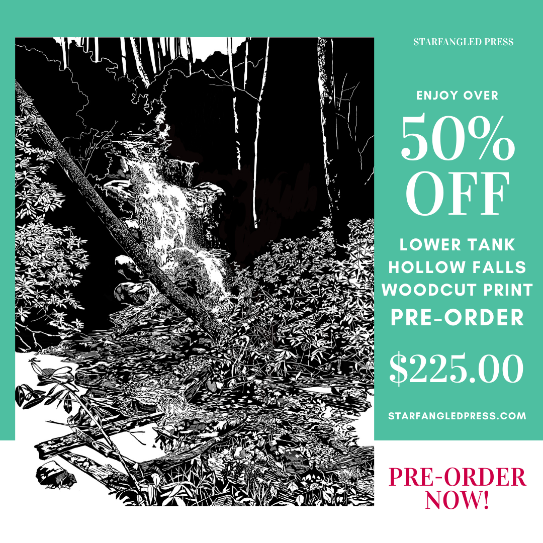 PRE-ORDER: Lower Tank Hollow Falls Woodcut Print