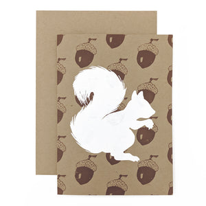 White Squirrel With Acorns Card
