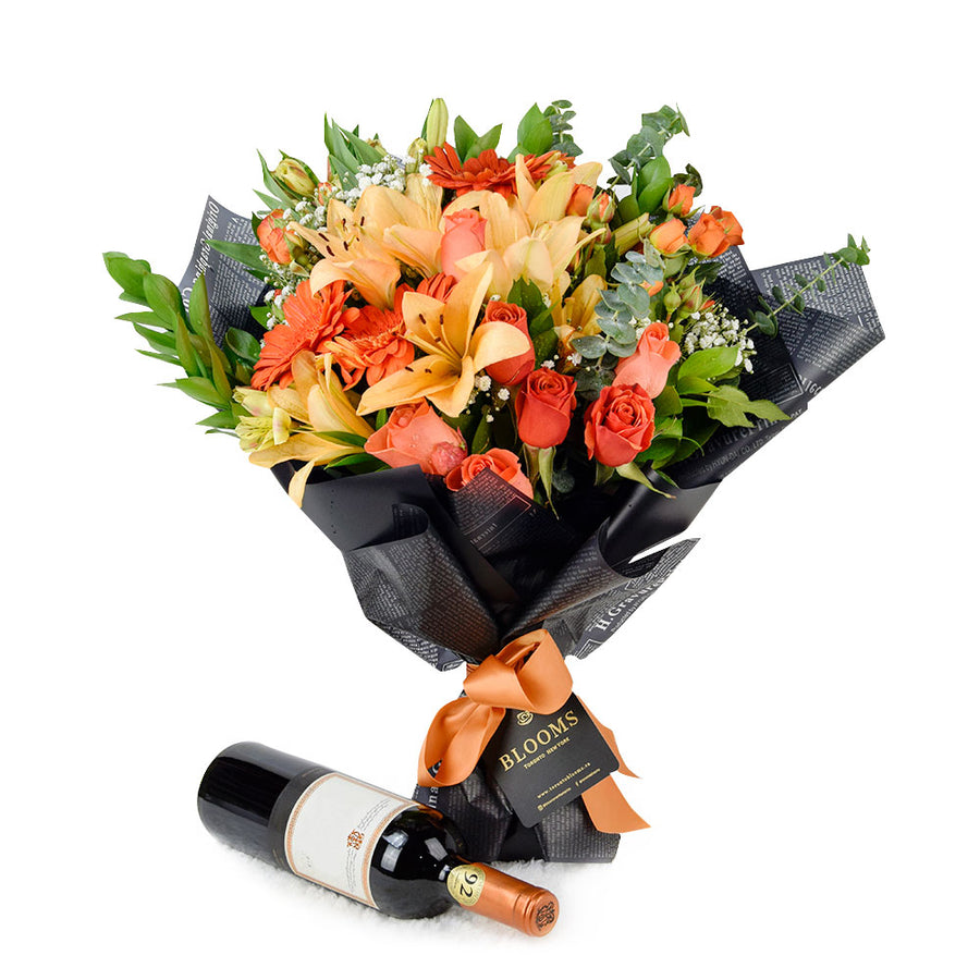 Beyond Brilliant Mixed Floral Arrangement Wine Gift