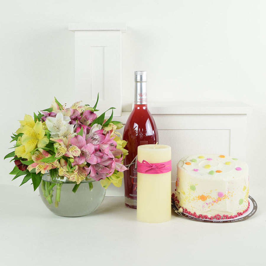 Birthday Bash Lilies Liquor & Flower Gift