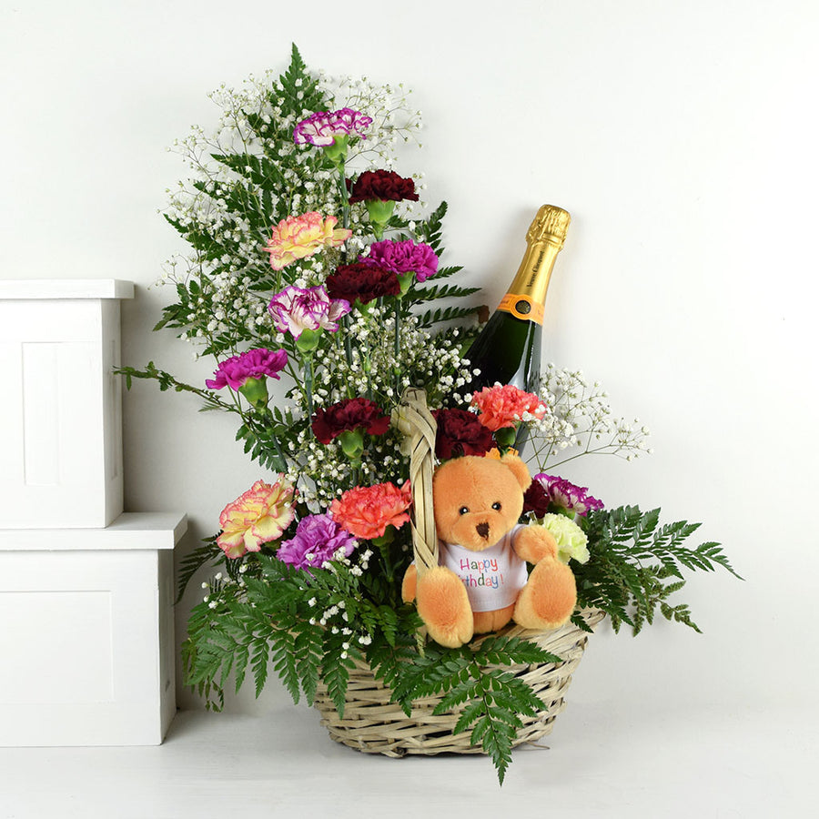Birthday Bear Flowers & Champagne Gift
