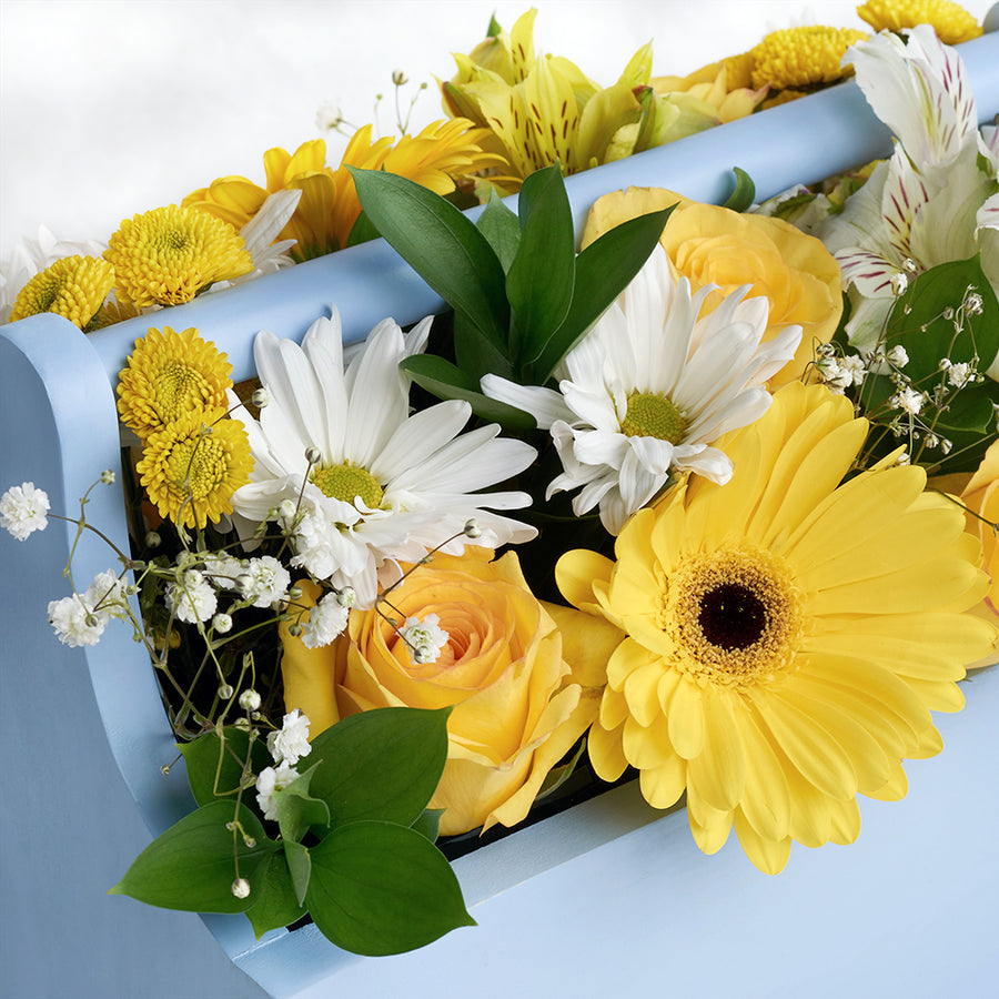 Yellow and white mixed floral arrangement in a blue toolbox. Same Day Toronto Delivery