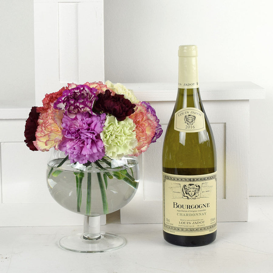 Color-Crazed Carnations Wine & Flower Gift