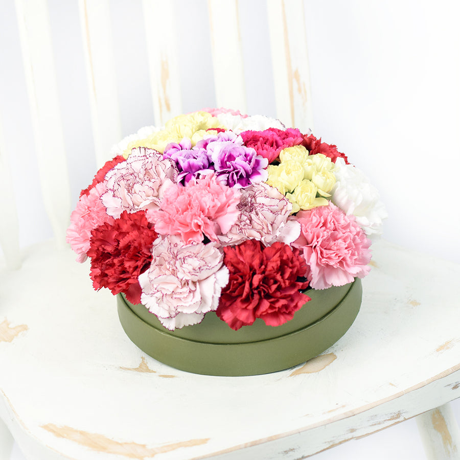 Colourful Radiance Flower Box Set - Carnation Flower Hat Box - Toronto Same Day Delivery
