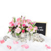Pink Flower Basket Arrangement