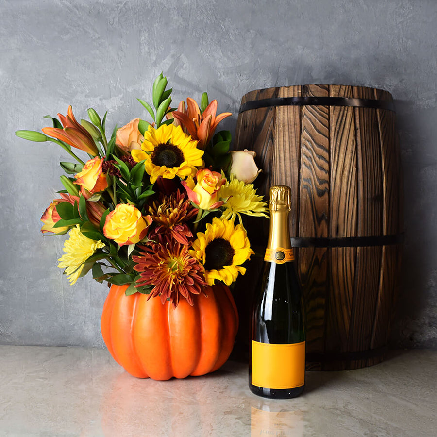 Fall Flower Bouquet & Champagne Gift, floral gift baskets, champagne gift baskets, Thanksgiving gift baskets