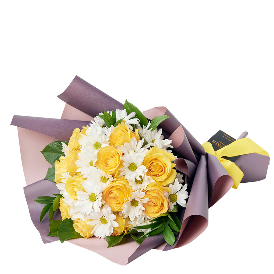 Yellow and white rose and daisy bouquet. Same Day Toronto Delivery.