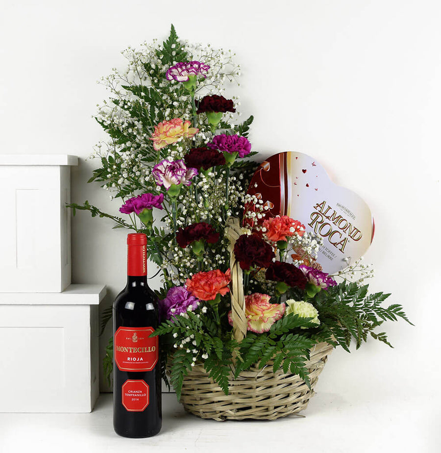 Floral Embrace Flowers & Wine Gift