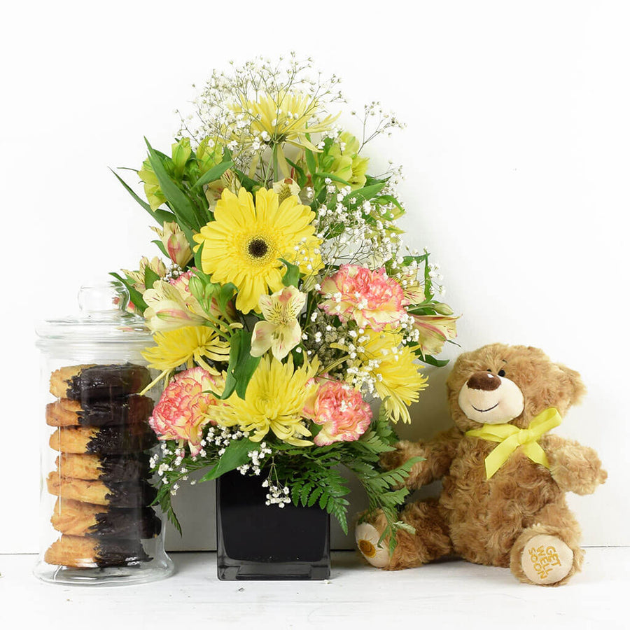 Floral Sunrise Mixed Bouquet & Bear