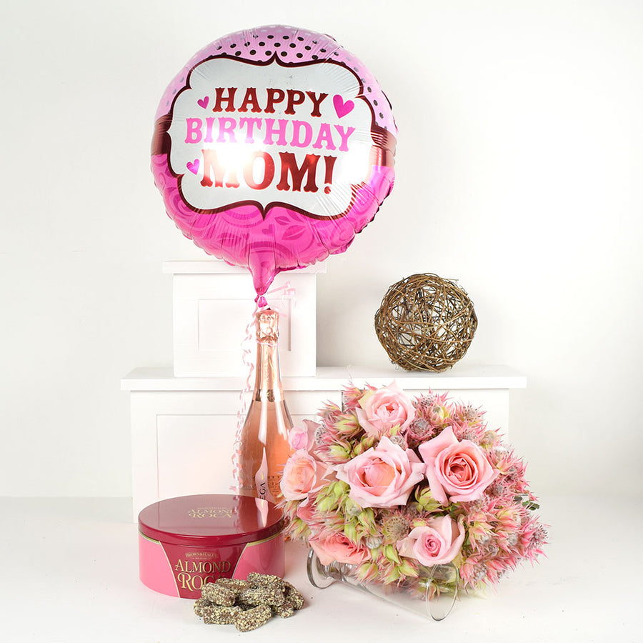 """Happy Birthday Mom"" Flowers & Champagne Gift"