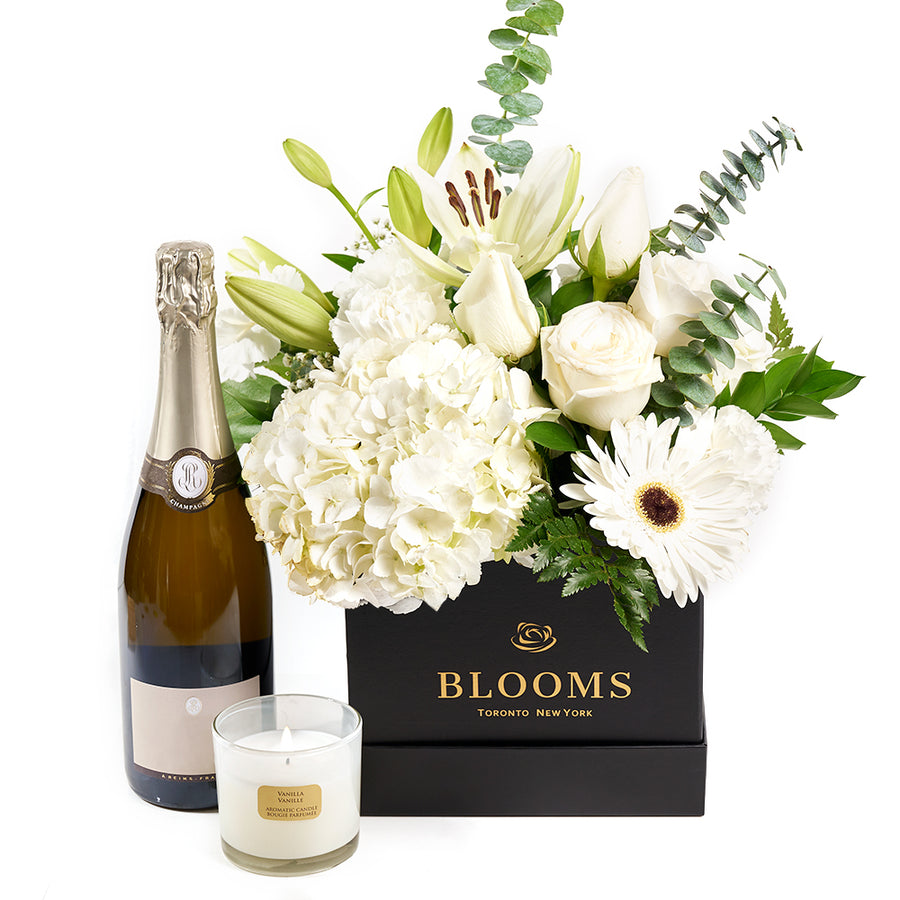 Heavenly Scents Flowers & Champagne Gift	- Mixed Floral Arrangement, Wine and Candle Gift - Same Day Toronto Delivery