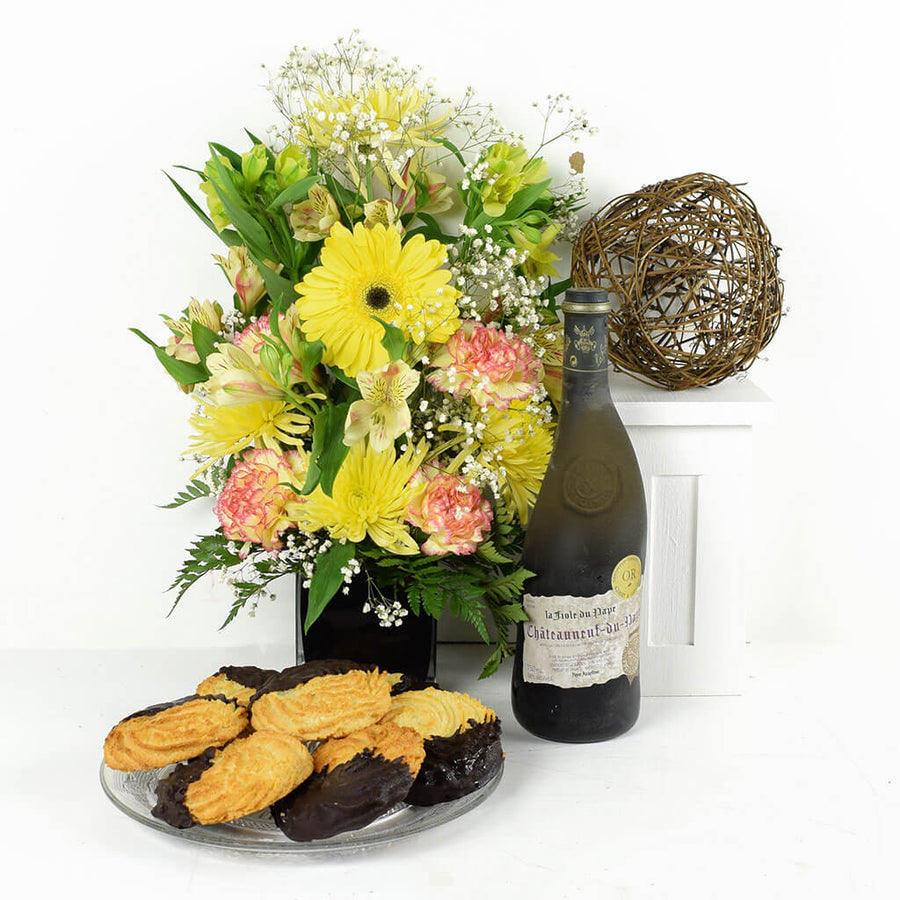 Joyful Sunrise Mixed Arrangement & Wine Gift
