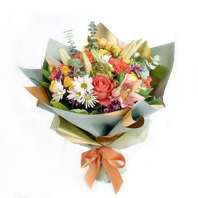 Mixed floral rose and lily bouquet. Same Day Toronto Delivery.