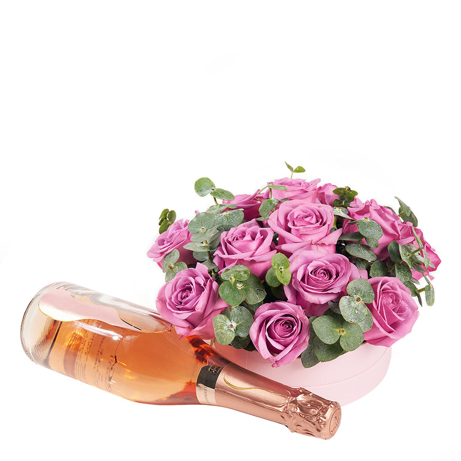 Luxe Passion Flowers and Champagne Gift  - Roses and Champagne Gift Set - Same Day Toronto Delivery