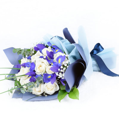 Muted Grace Mixed Floral Bouuet - White Roses and Iris