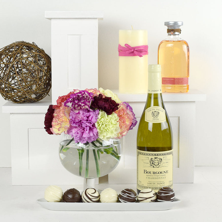 Scent-Crazed Carnations Wine & Truffles Gift