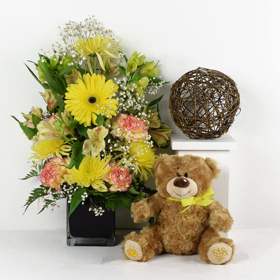 Sunrise Mixed Floral Bouquet & Teddy