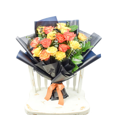 Sunset rose bouquet in red, yellow, and orange. Same Day Toronto Delivery