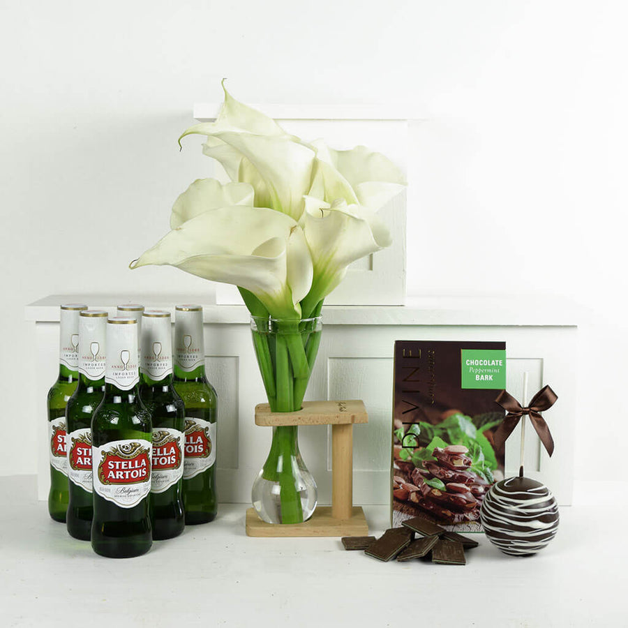 The Finer Things Flowers & Beer Gift