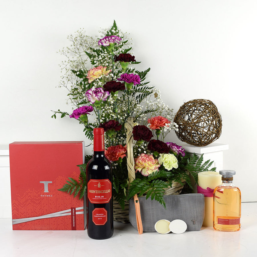 Thymes Beauty Wine & Flower Gift