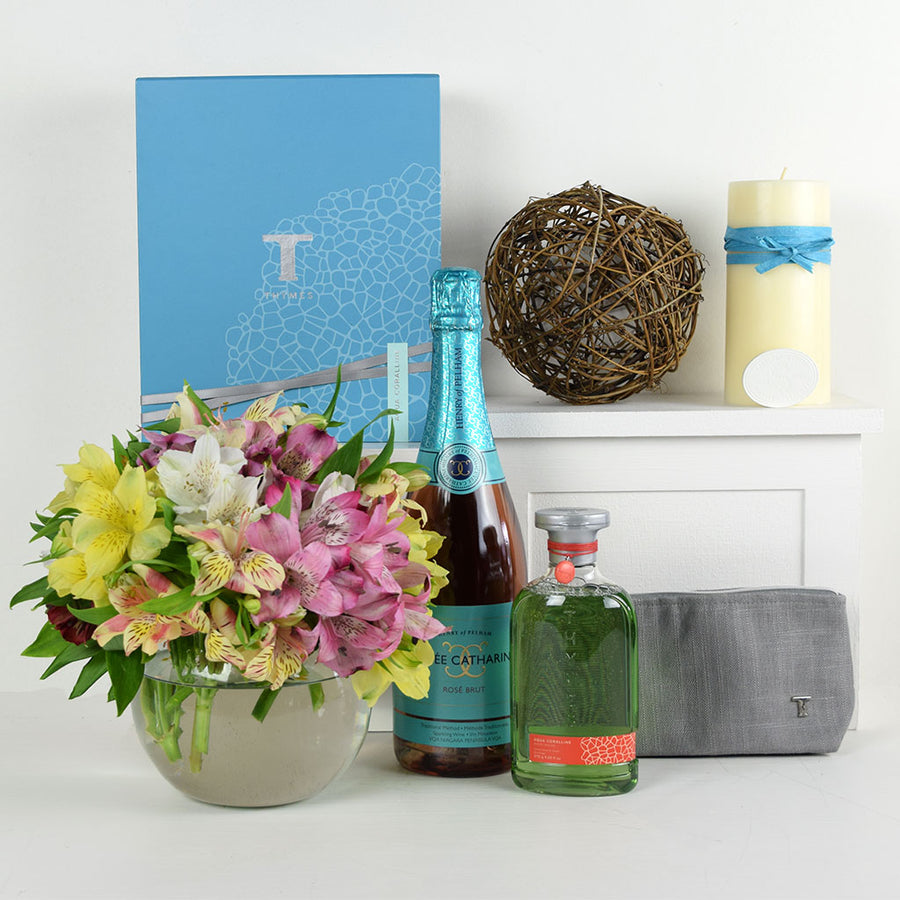 Thymes Lilies Champagne & Flower Gift