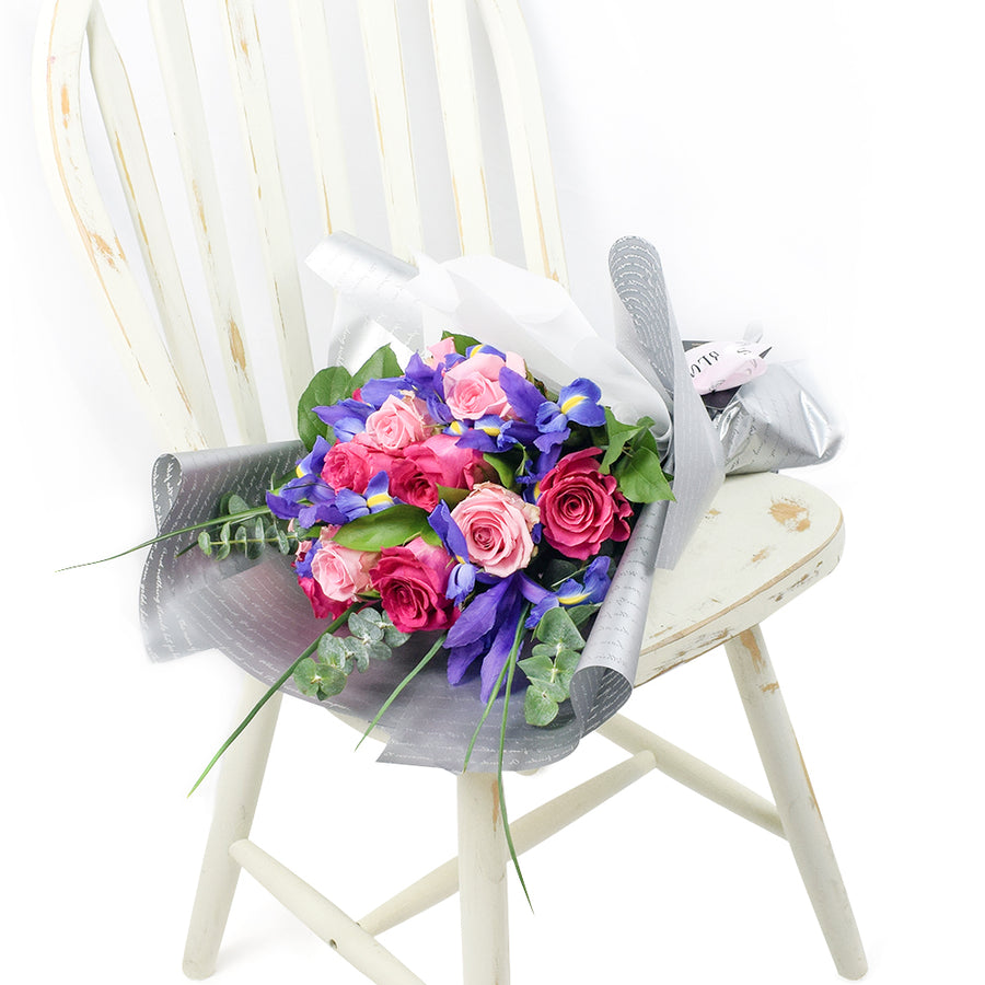 Tuscan Sunset Mixed Floral Bouquet-  irises, Pink roses, ruscus, and eucalyptus gathered in a floral wrap and tied with designer ribbon - Toronto Same Day Delivery