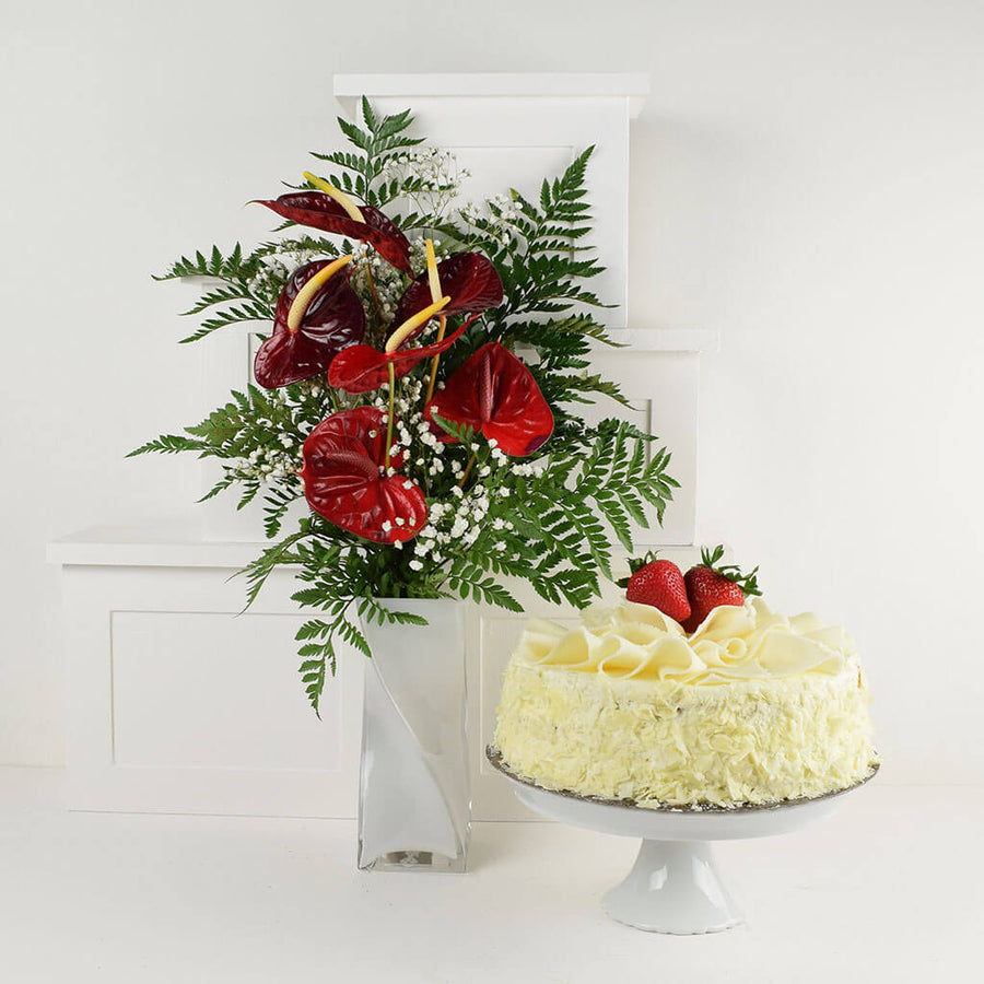 Warm Thoughts Flowers & Cake Gift