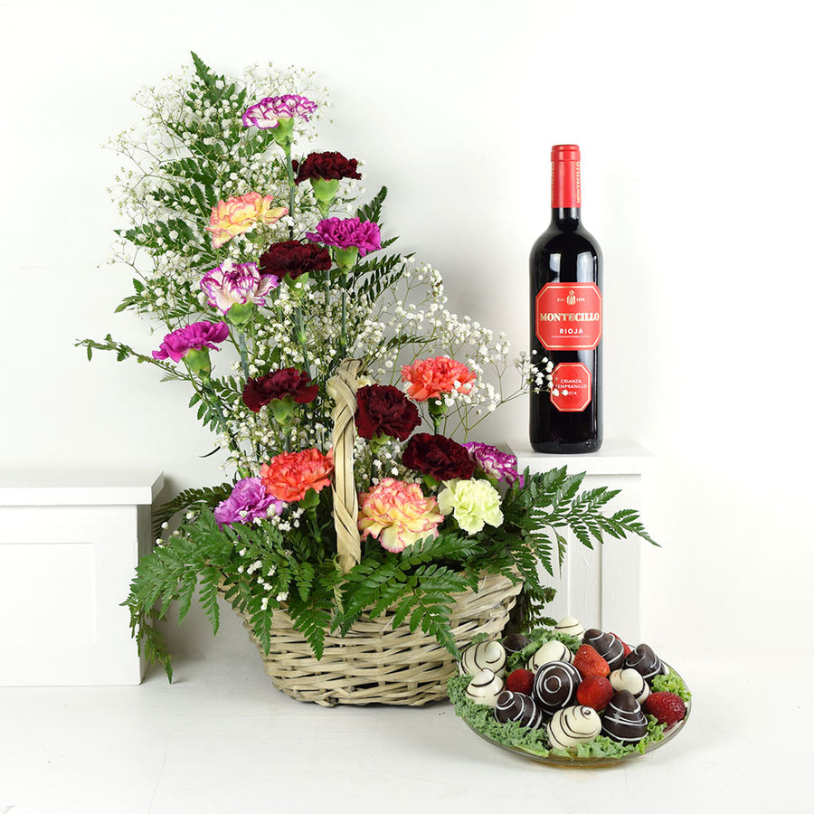 Wine & Dine Chocolate Dipped Strawberries & Flower Gift