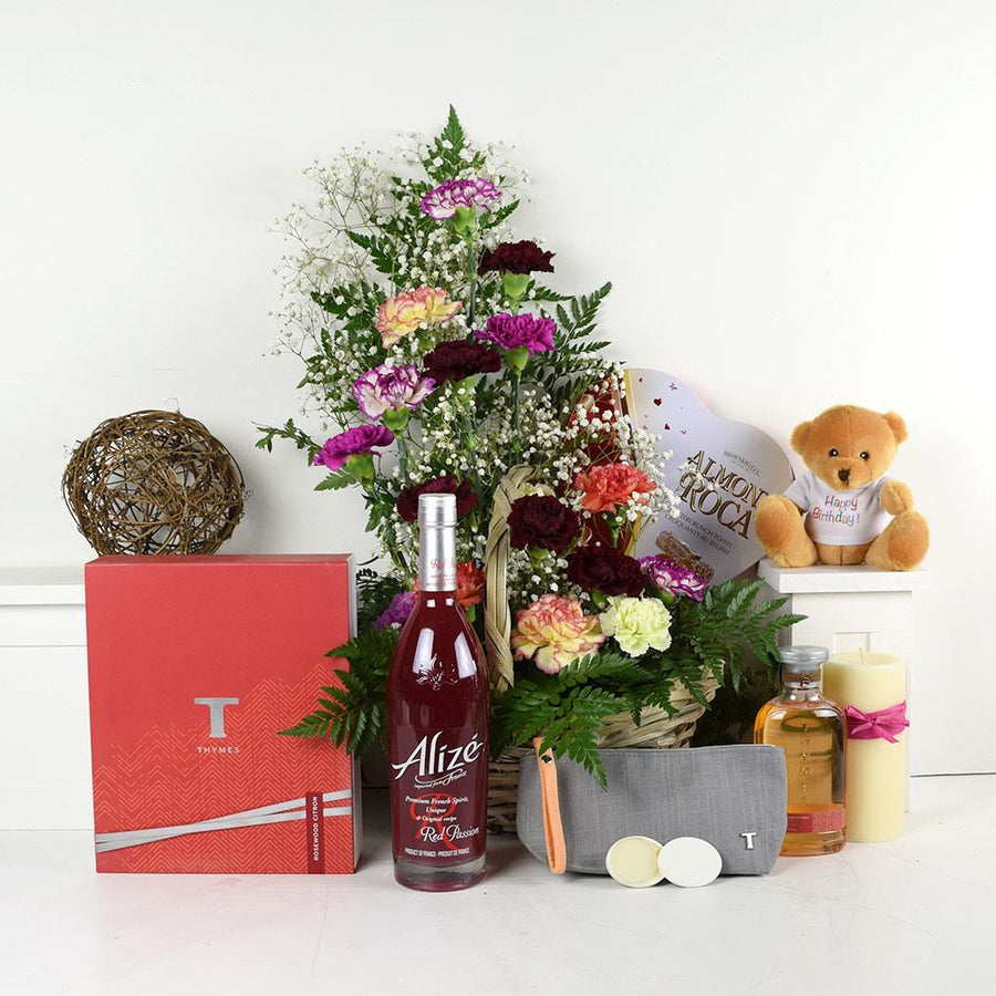 """You Mean Everything To Me"" Flowers & Spirits Gift Basket"