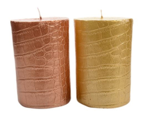 Crocodile Patterned Pillar Candle With Metallic Finish - Burning Hours: 40 Hours