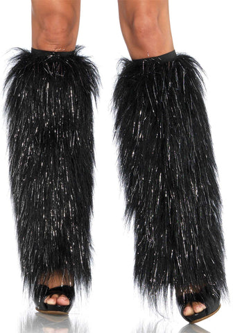 Leg Avenue Furry Lurex Black Legwarmers