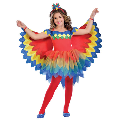 Child Pretty Parrot Fairy Girls Costume
