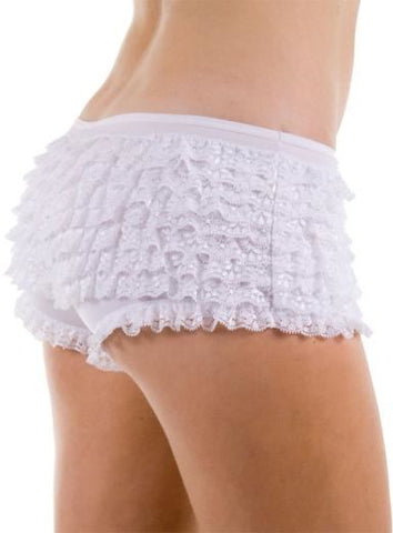Lace Ruffle Tanga Shorts: Red: Medium (12-14)