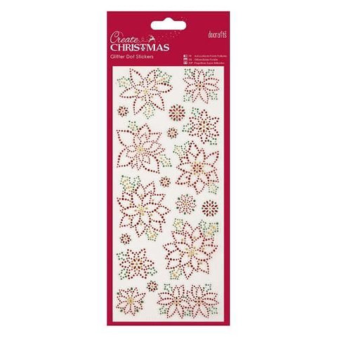 Glitter Dot Stickers - Christmas Flowers