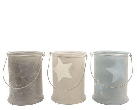 Glass hurricane with star design, 13x17cm diameter, 3 assorted; white, blue or grey, 1 supplied