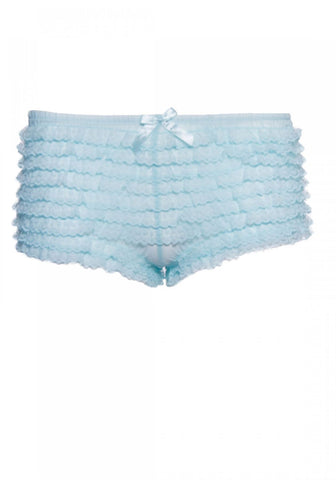 Leg Avenue Ruffle Lace Tanga Shorts: Light Blue