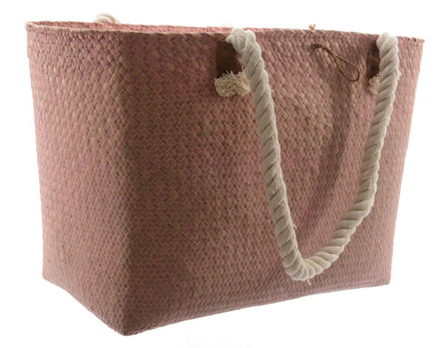Seagrass Bag With Handles - Pink