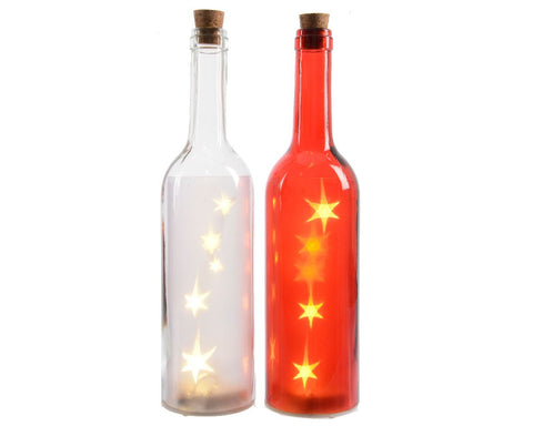 LED Glass Decorative Bottle ( 2 assorted 1 supplied)  - diameter 7x29.5cm-5L