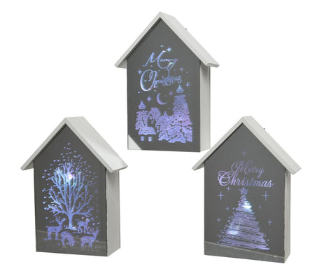 Christmas decoration, LED white frame glass house, excludes batteries, 6x15x21cm - 15 lights, 3 assorted, 1 supplied