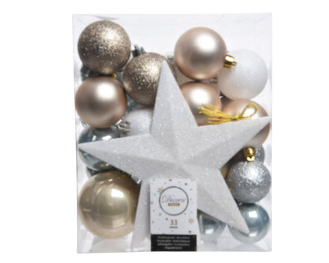 Christmas Tree Decoration Pack (33 pieces) - includes 1 white tree topper, 2 x 8cm silver bauble & 2 x 8cm pearl bauble, 6 x 6cm blue bauble & 6 x 6cm pearl bauble, 3 x 6cm white bauble & 3 x 6cm brown bauble, 4 x 5cm blue bauble, 3 x 5cm silver bauble,